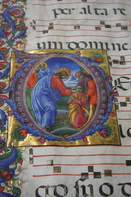 Closeup of an illuminated manuscript